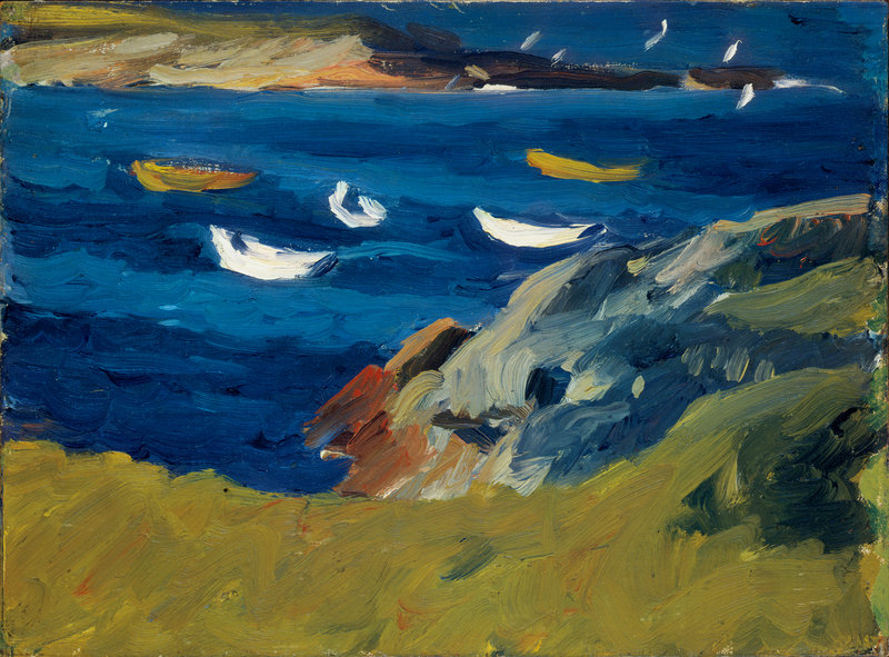 "Edward Hopper painted ""Dories in a Cove,"" oil on board on panel, in Ogunquit in 1914. Hopper came to the town in the summers of 1914 and 1915, by which time it was widely known as an artist colony."
