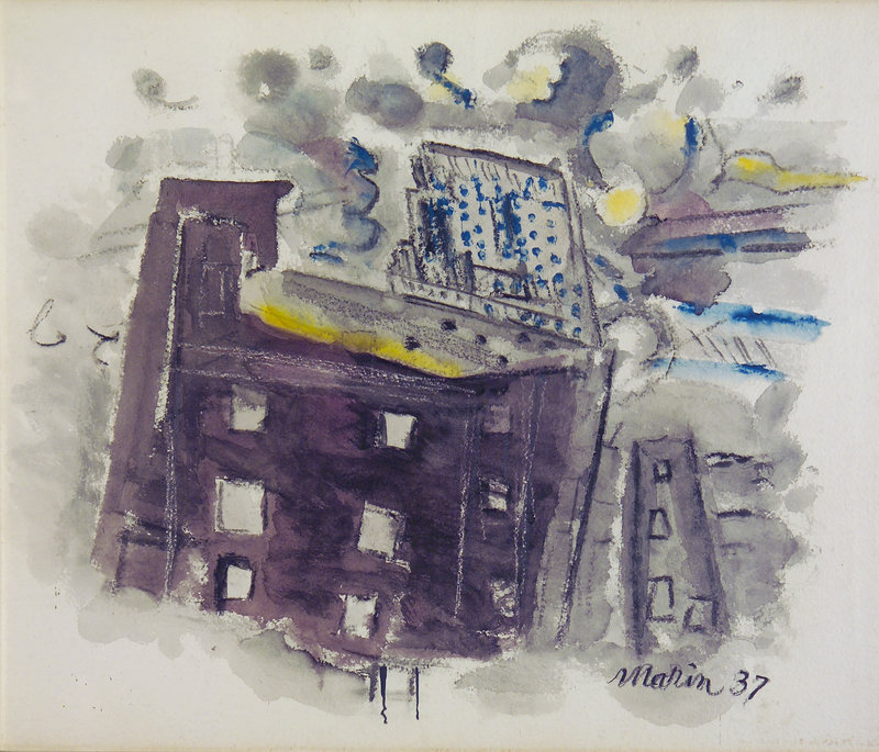 """Top of Radio City, New York City,"" 1937, watercolor on paper, from ""John Marin: Modernism at Mid-Century,"" continuing at the Portland Museum of Art."