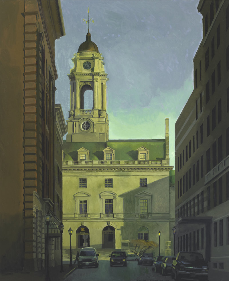 "Thomas Connelly's ""City Hall,"" oil on panel, is one of the artist's Portland scenes."