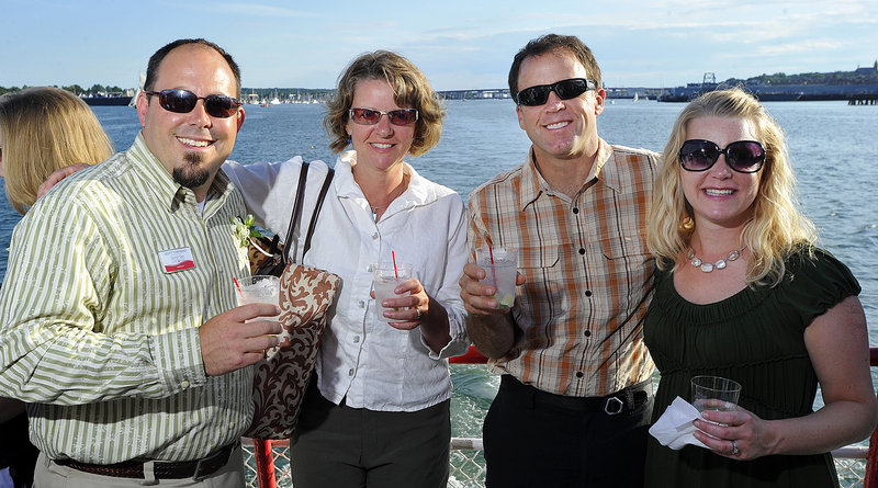 Joining in the Forty Under 40 event on Casco Bay were, from left, Scott Townsend, Scarborough; Sarah and Jim Tasse, Cape Elizabeth; and Sunny Townsend, Scarborough.