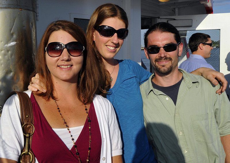Among the participants in the Forty Under 40 event on Casco Bay sponsored by MaineToday Media on Thursday night were, from left, Joanne Small, South Portland; Rickie Bogle, Portland; and Justin Drake, Portland.