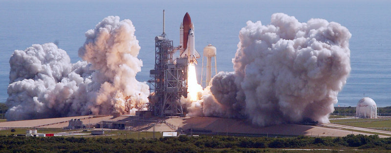 The space shuttle Discovery lifts off from Florida in 2005.