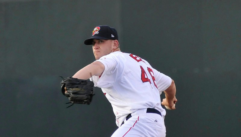 Portland's starting pitcher Michael Lee makes a pitch early in the Sea Dogs' game with the Binghamton Mets at Hadlock Field. Lee took the loss, giving up two runs (one earned) on three hits over three innings.