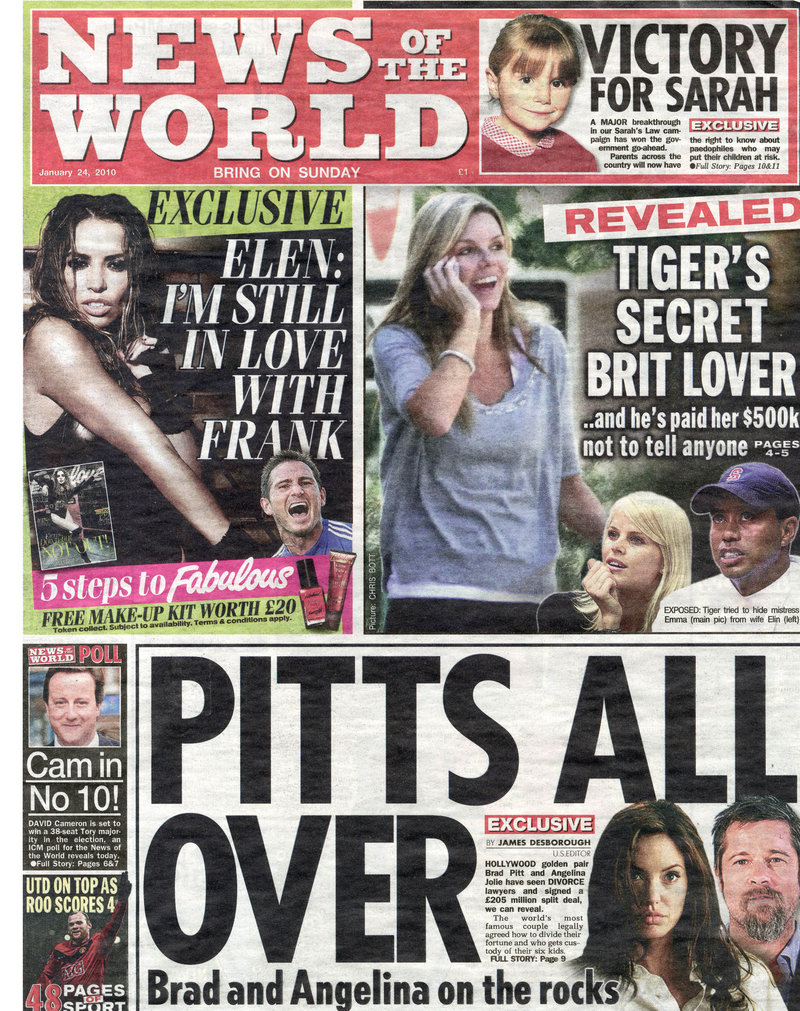 A front page from the News of the World
