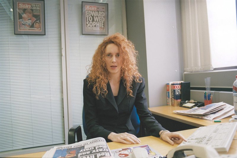 """Rebekah Brooks, shown in 2002, became the youngest editor of a British national newspaper when she was appointed to oversee the News of the World in 2000. """"The reporters who were prepared to subject themselves and others to the most ridicule were the ones earmarked for success,"""" says Michael Taggart, who worked for Brooks at The Sun in 2003."""