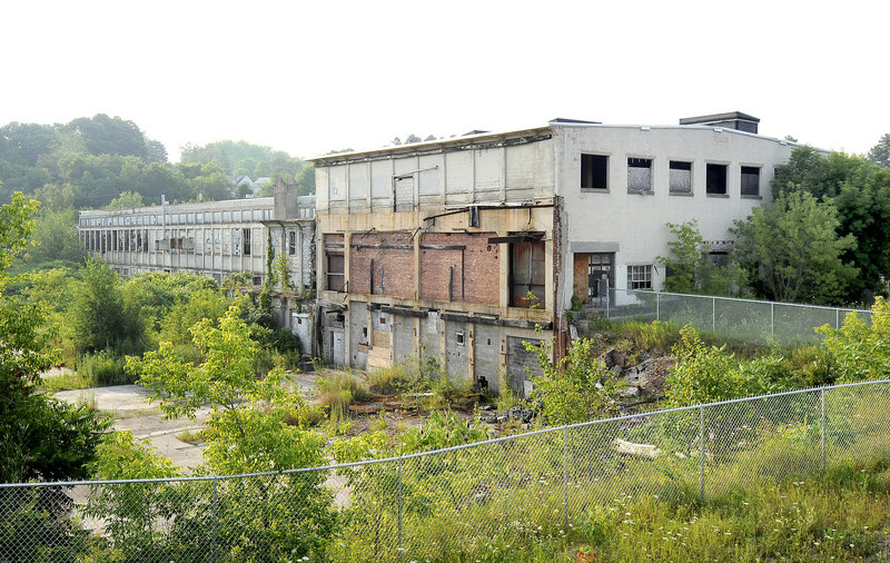 """Keddy Mill in South Windham Village – one of the 175 brownfield sites in Maine where redevelopment has stalled – """"has become a bigger problem than anyone thought originally,"""" said Jean Firth, the DEP's brownfields coordinator."""