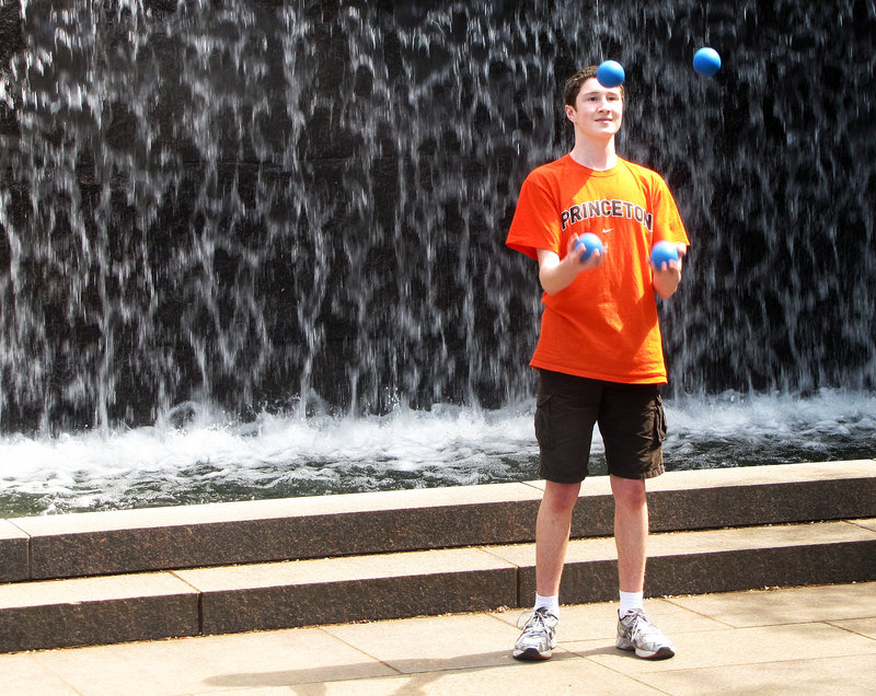 Will Silvers, 14, of Cumberland juggles. He also develops his dexterity playing piano and tenor sax.