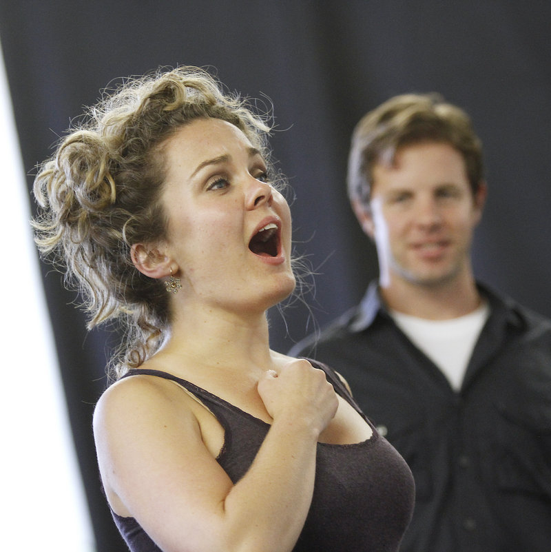 """Ashley Emerson and Andrew Bidlack rehearse PORTopera's """"The Daughter of the Regiment"""" Wednesday in Portland. The comic opera will be presented Thursday and Saturday at Merrill Auditorium."""