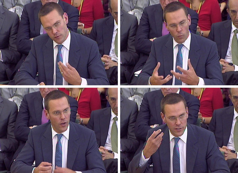 James Murdoch, son of media mogul Rupert Murdoch, gives testimony to lawmakers on the Culture, Media and Sport Select Committee in London on the News of the World phone-hacking scandal in this image taken from TV on Tuesday.