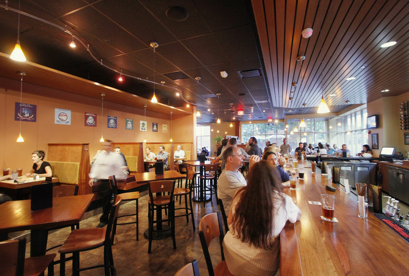 Sebago Brewing Company features a large, bright area that is welcoming and comfortable.