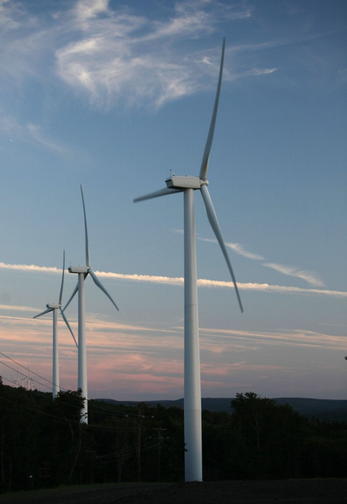 Wind turbines occupy Stetson Mountain in Washington County. Maine now has three more major wind farms: Rollins in Penobscot County, Kibby Mountain in Franklin County and Mars Hill in Aroostook County. Two more are being built.
