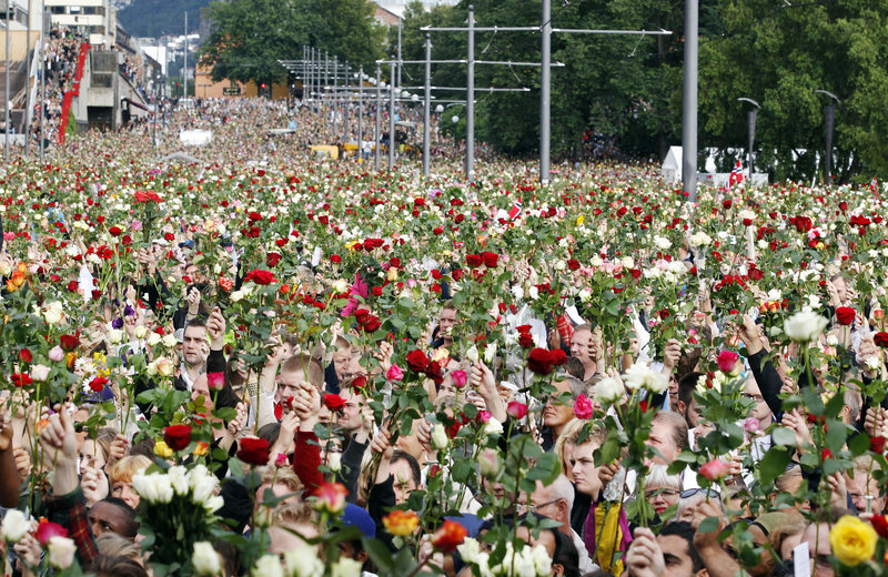 The Associated Press A rose march in Oslo on Monday drew 150,000 people – most holding flowers in memory of the 76 victims of Friday's bombing and shooting massacre.