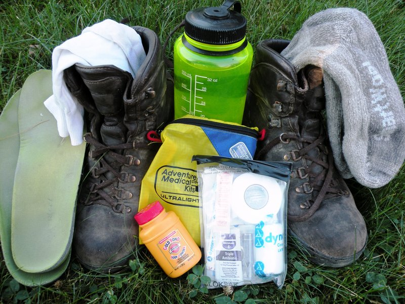Essentials for keeping your feet comfortable on the trail include footbeds, extra socks and foot powder.