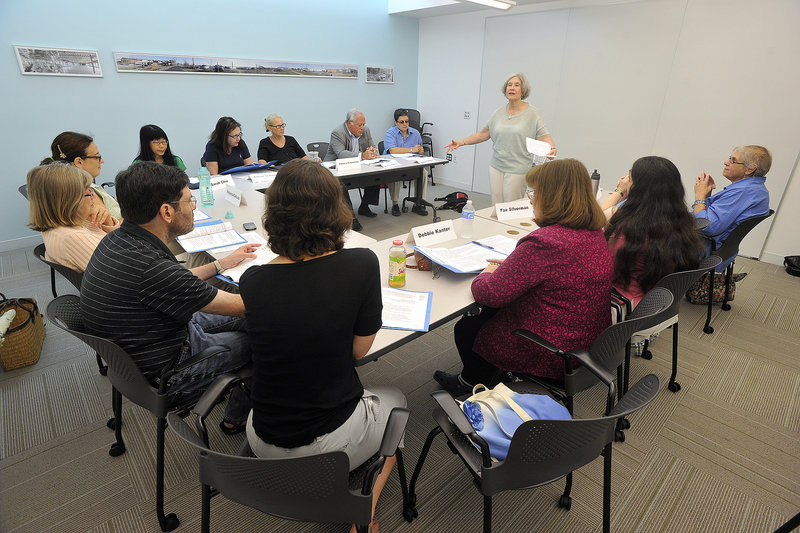 Ellie Miller speaks at a session on maintaining balance in modern living, part of a course being offered at the Jewish Community Alliance on Ashmont Street in Portland.