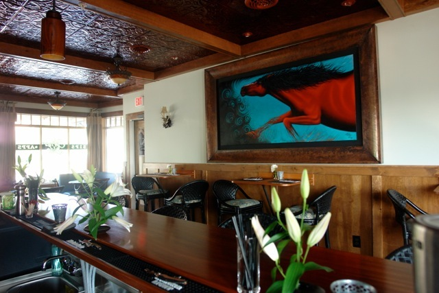The Corner Side at 2485 Main St., Rangeley, has a 10-stool bar centrally located, with tables fore and aft. The menu, offering up-to-date fine dining cuisine, changes weekly.
