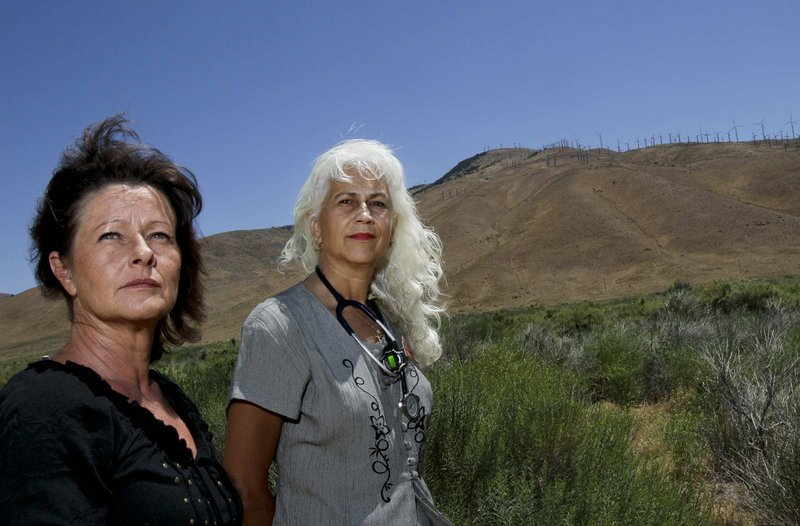 April Biglay, left, treasurer, and Beverly Billingsley, director of Friends of Sand Canyon, oppose Helo Energy's expansion of its wind farms near Tehachapi.