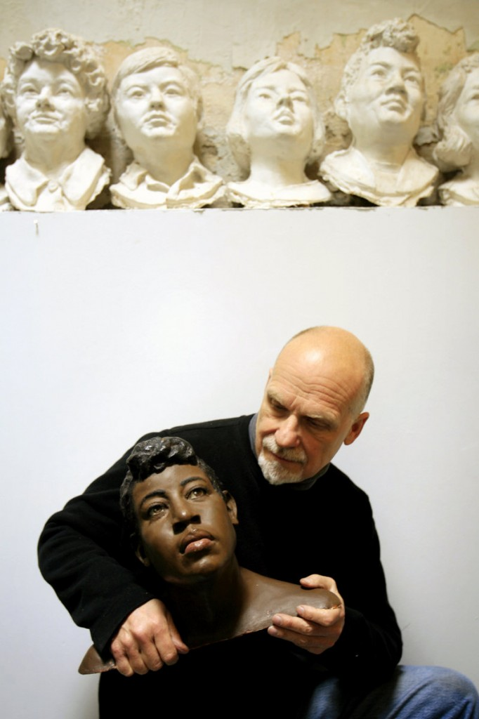 At his Philadelpha studio, Frank Bender holds a bust he created based on the remains found of homicide victim Rosella Atkinson.