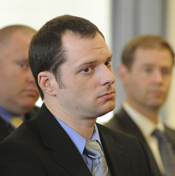 Jason Twardus listens as he is sentenced to 38 years in prison in York County Superior Court in Alfred today.