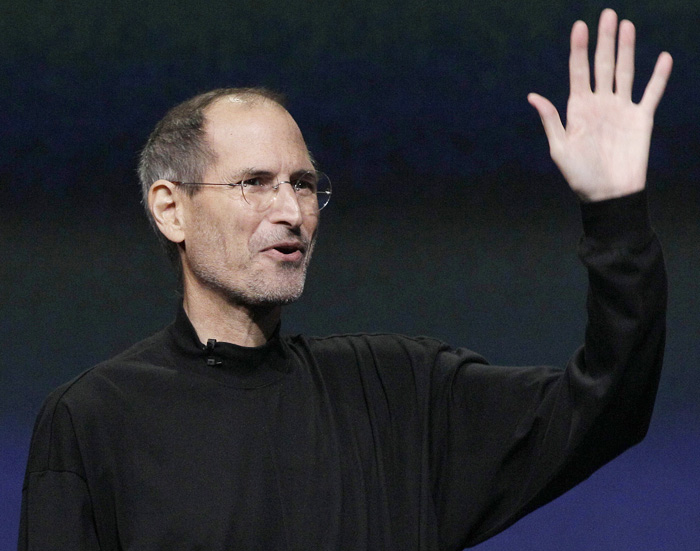 Steve Jobs waves to his audience at an Apple event in March in San Francisco.