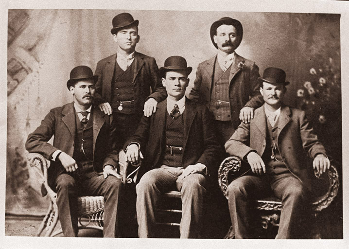 This image provided by the Nevada Historical Society shows the famous group portrait taken in Fort Worth, Texas, shortly after Butch Cassidy and his gang robbed the Einnemucca, Nev., bank in 1900. They sent the photo to the bank with a thank-you note. Shown are Bill Carver, top left, the Sundance Kid, bottom left, and Butch Cassidy, bottom right. The other two members of the gang are not identified.
