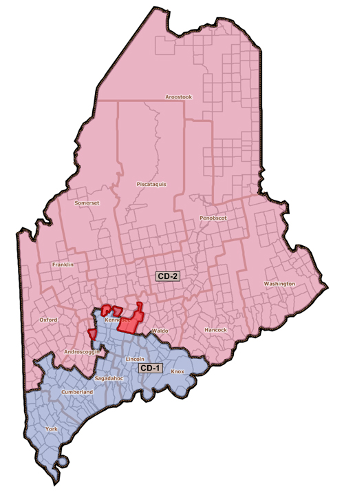 Democrats proposed a revised redistricting plan today that moves the towns of Albion, China, Oakland, Rome, Unity Township, Vassalboro and Wayne – comprising 19,171 people – from District 1 into District 2. Those towns are shaded red on the map.