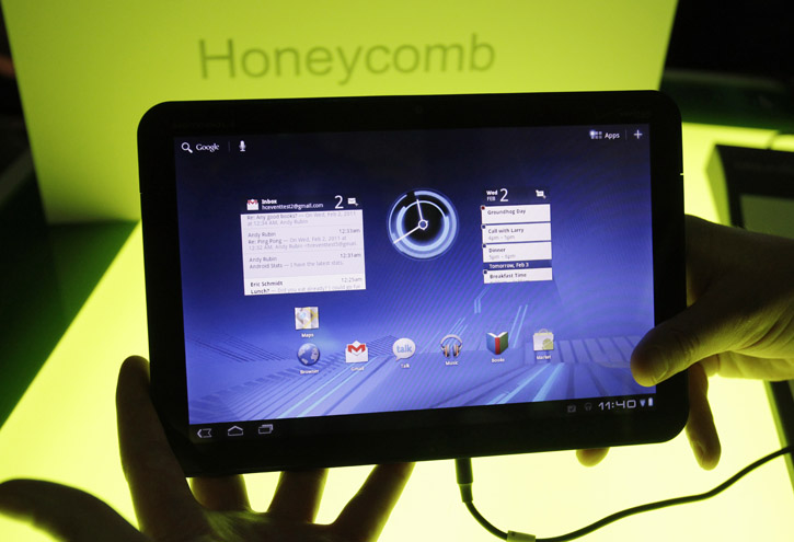 A Xoom tablet manufactured by Motorola Mobility Holdings Inc. is shown at Google headquarters in Mountain View, Calif.