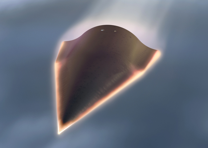 An undated artist's rendering released by the Defense Advanced Research Projects Agency showing the Falcon Hypersonic Technology Vehicle 2 (HTV-2).