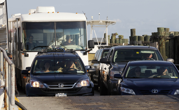 A ferry from Ocracoke Island delivers evacuees to Hatteras, N.C., today.