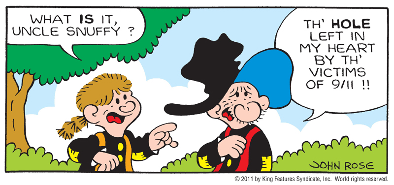 A Snuffy Smith comic strip with a 9/11 theme, released by King Features Syndicate.
