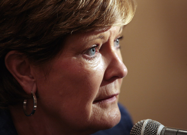 Tennessee women's basketball head coach Pat Summitt talking with reporters in a 2010 photo.