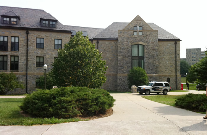 Peddrew-Yates Residence Hall, near Dietrick Dining Center, is locked down today on the Virginia Tech Campus in Blacksburg, Va., after three youths attending a summer camp said they saw a man