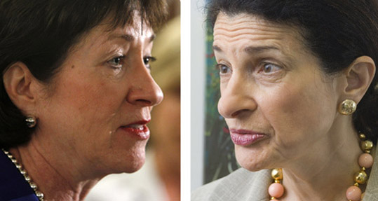 Maine Republican Sens. Susan Collins, left, and Olympia Snowe.