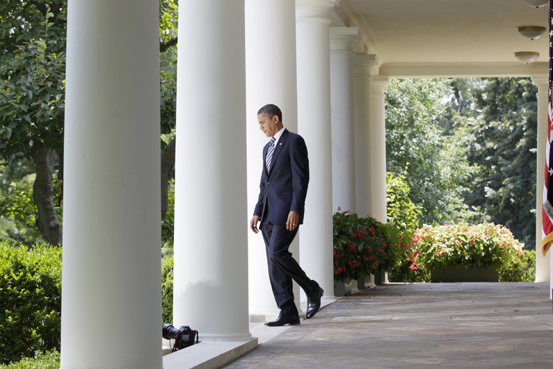 President Barack Obama arrives to speaks in Rose Garden of the White House in Washington on Tuesday after the Senate passed the debt ceiling legislation. If there is a bright spot in the acrimonious runup to the agreement, it is the creation of a bipartisan congressional panel to consider further debt reduction.