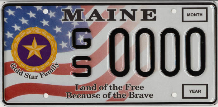 Sample Gold Star license plate