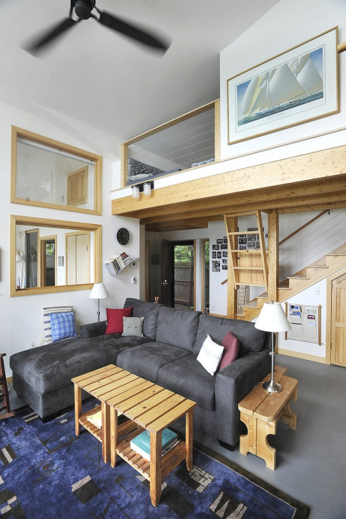 A bunk area for children overlooks the living room.