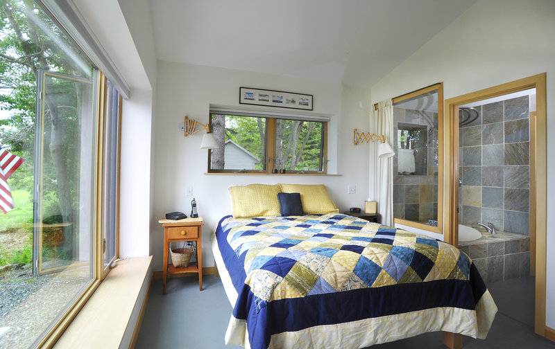 The bedroom features its own bathroom.