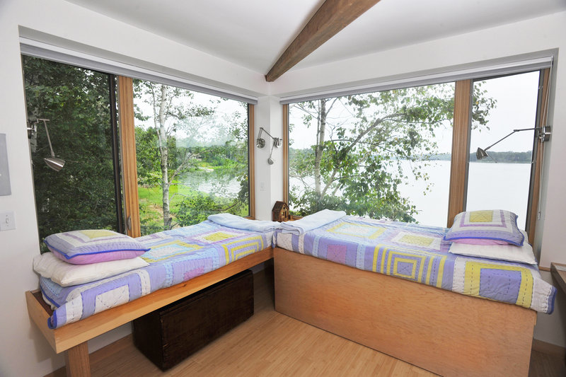 The loft has two beds, one of which can convert to a double bed.