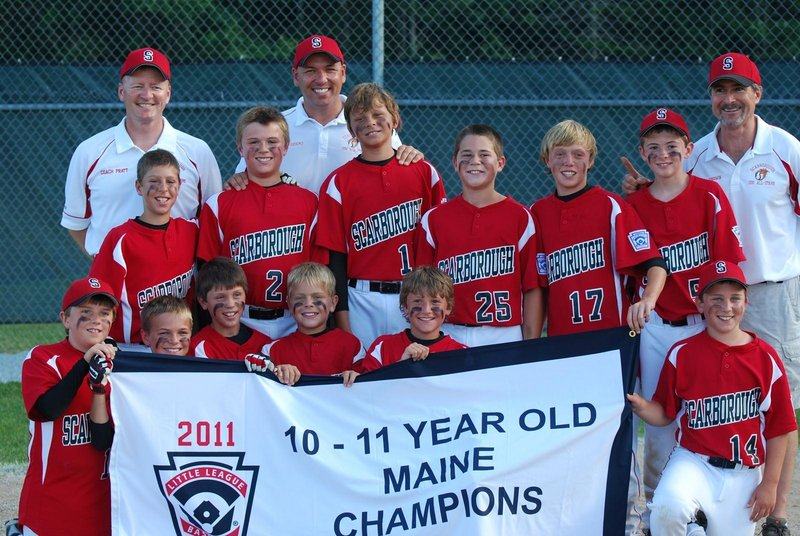 Scarborough Little League won the state championship for 10- and 11-year-olds with an 11-1 victory over Dirigo in the championship game on July 27 in Lincolnville. Team members, from left to right: Front – Justin Tanguay, Morgan Pratt, Alex Dobecki, Glade Fredenburg, Nick Anderson and Nate Gehrke; Middle – Ogden Timpson, Jared Brooks, Zoltan Panyi, Owen Garrard, Connor Kelly and Andrew Goodwin; Back – Manager Neal Pratt, Coach Adam Brooks and Coach Keith Goodwin.
