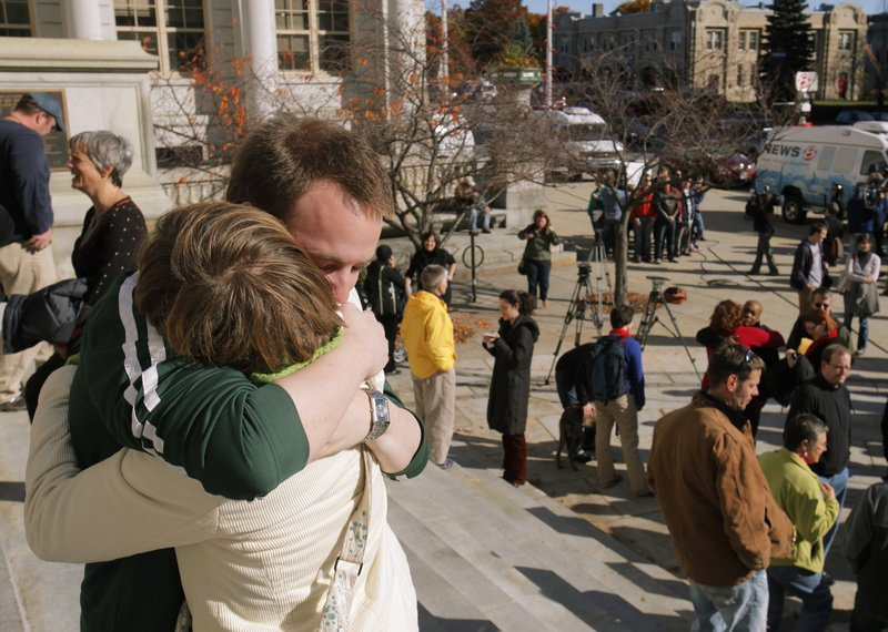 Same-sex marriage backers comfort each other on Nov. 4, 2009, the day after an effort to uphold the law was defeated. A plan to put the issue on the 2012 ballot is misguided, a Republican activist says.