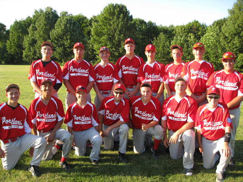 The Portland Babe Ruth 14-year-old all-stars advanced to the New England Regional after winning the state tournament in Fairfield. Team members, from left to right: Front – Domenic Fagone, Gabe Axelson, Kevin Goldberg, Travis Godbout, Jordan Floridino, Mike Thurston and Nick Bevilacqua; Back – Anthony Russo, Dominic DiMillo, Dan Kane, Griffin Py, Will Barlock, Sam Luebbert, Joe Apon and Pat Ball.