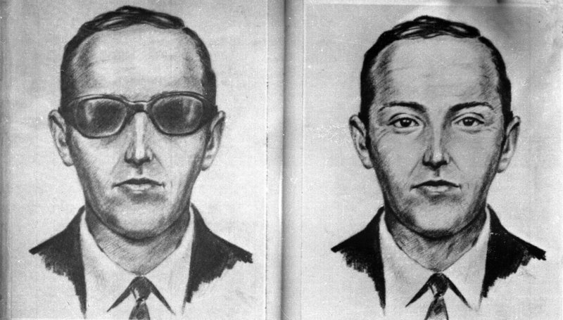"""A 1971 artist's sketch shows the skyjacker known as """"Dan Cooper"""" and """"D.B. Cooper,"""" made from the recollections of passengers and crew of the plane."""