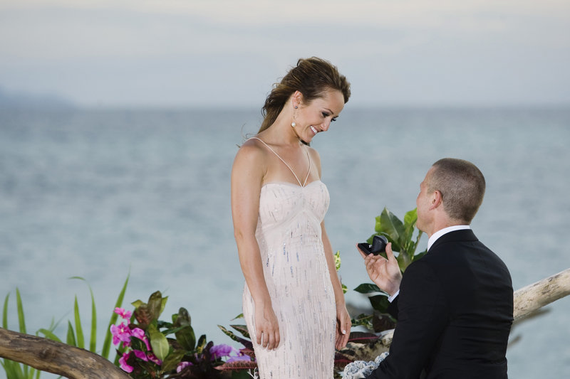 """J.P. Rosenbaum proposes to Ashley Hebert of Madawaska on """"The Bachelorette"""" finale, which aired Monday. She's leaving TV to finish dental school and live with him in New York."""