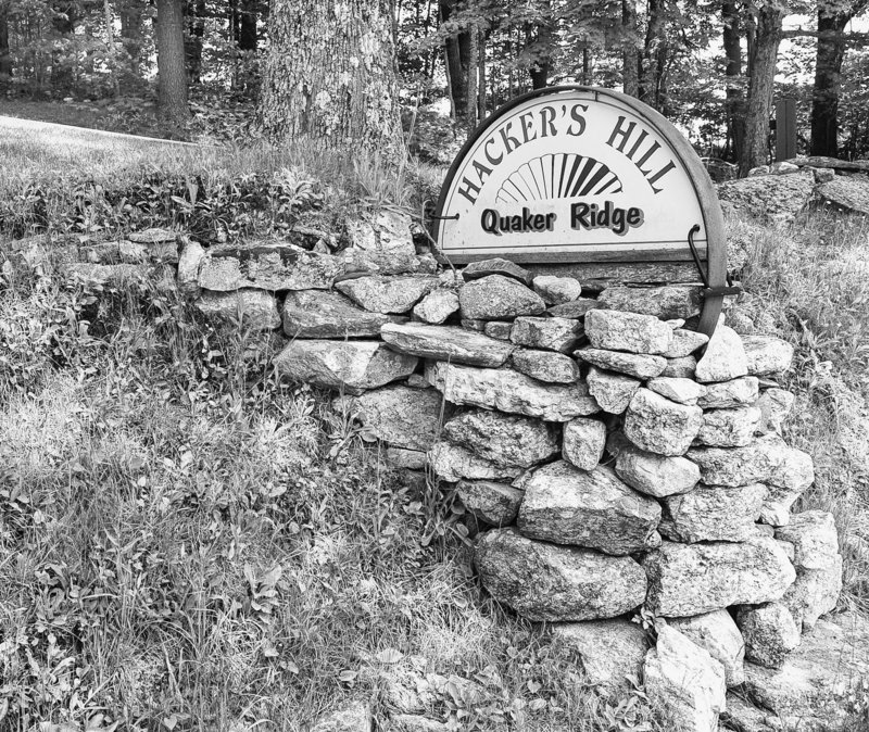 A sign at the bottom of Quaker Ridge in Casco points the way to Hacker's Hill.