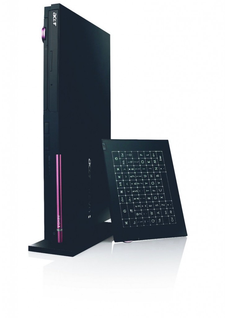Acer's new Revo RL100 comes with a wireless touchpad that pops out of the front of the unit. It also can be used as a wireless keyboard. It charges itself when it's stored inside the PC.