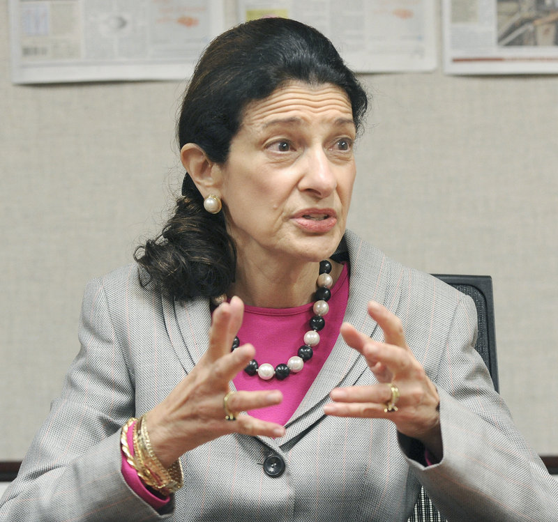 "Sen. Olympia Snowe, shown speaking to the editorial board of The Portland Press Herald earlier this month, recently summed up the problem paralyzing Washington: ""We no longer know how to legislate. Today, parties are only concerned about messaging."""