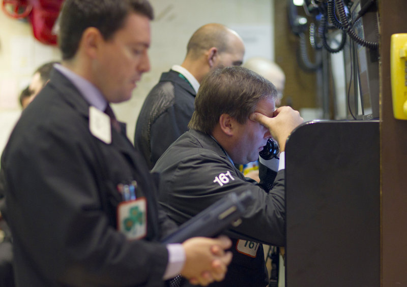 Traders working on the floor of the New York Stock Exchange Thursday had reason for concern, as the Dow Jones average lost 513 points by the end of the day.