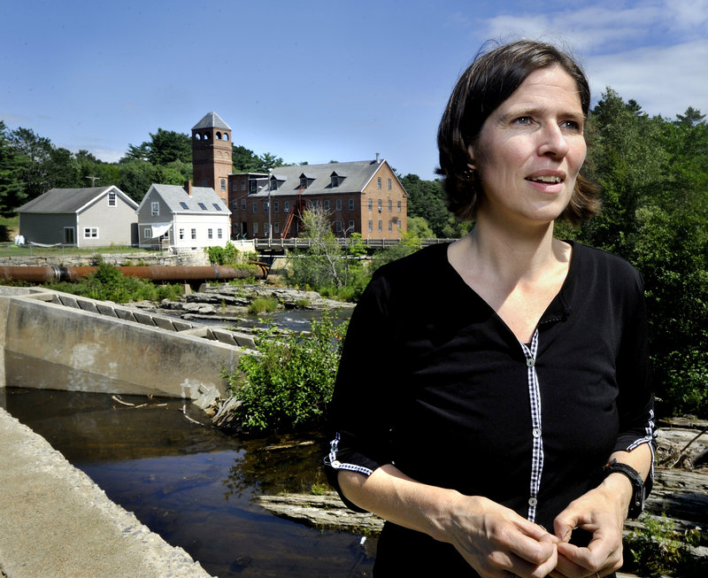 """Landis Hudson, executive director of Maine Rivers, says of part of the Royal River, """"It looks like a lake, but it has none of the health or vitality of a natural lake. It's part of a whole system that has been greatly altered over the years."""" The town of Yarmouth is planning to draw down the river at the Bridge Street dam to inspect the dam and the riverbed."""