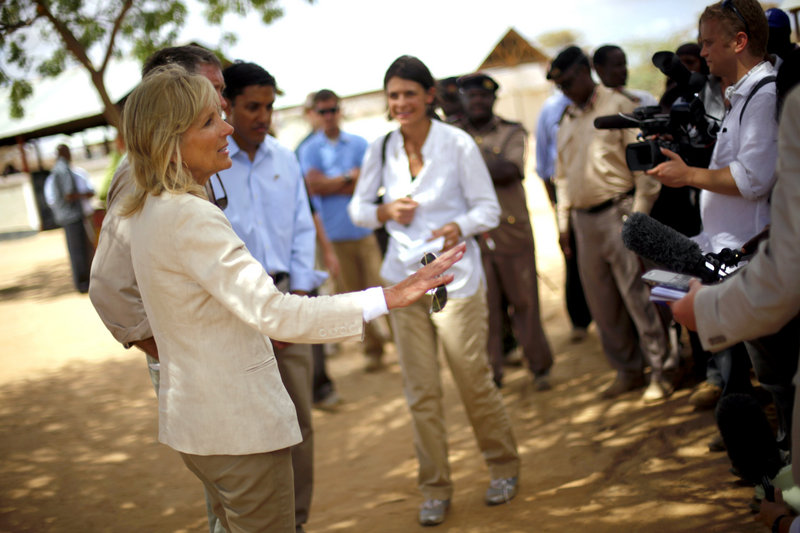 """Jill Biden, wife of U.S. Vice President Joe Biden, briefs reporters after her visit with Somali refugees at a screening center on the outskirts of Ifo camp. """"There is hope if people start to pay attention to this,"""" she said."""
