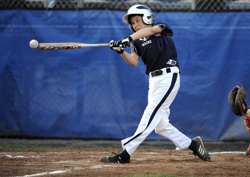 Bobby Murray of Maine state champion Yarmouth (1-2) makes contact with the ball during Connecticut's 10-1 win Monday night at the Little League New England Regional at Breen Field in Bristol, Conn.