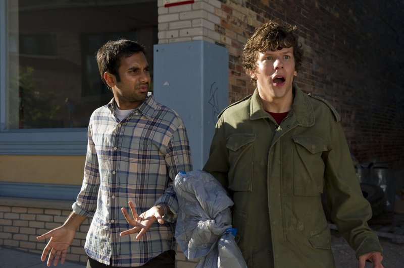 Aziz Ansari, left, and Jesse Eisenberg in